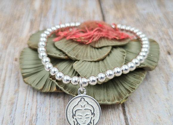 Bracelet argent - Perles 4mm - pendentif tête de Bouddha