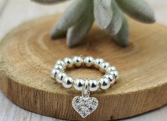 Bague argent 925 - pendentif coeur zircons noirs ou cristal