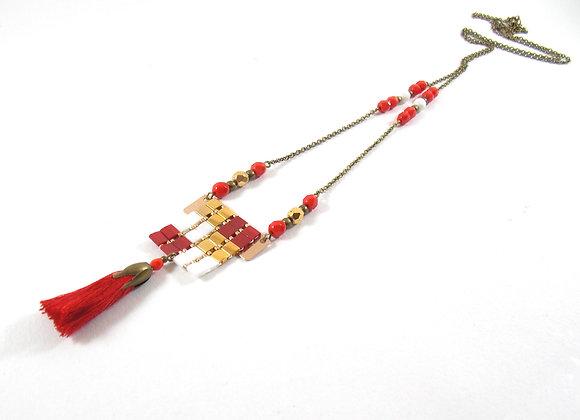 Sautoir NIL rouge et or  - Sautoir perles tissées et pompon