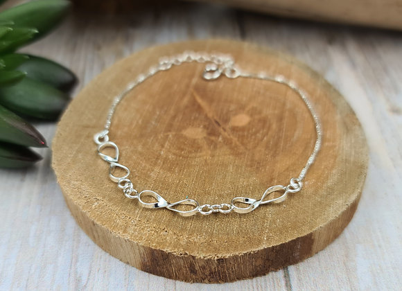 Bracelet chaîne fine argent 925 et intercalaires infinis
