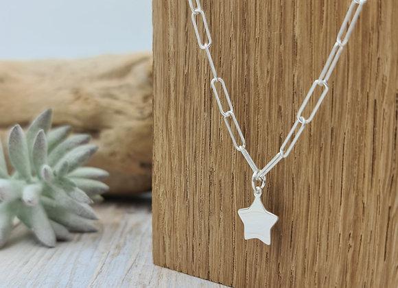 Collier maille rectangulaire argent 925 - pendentif étoile