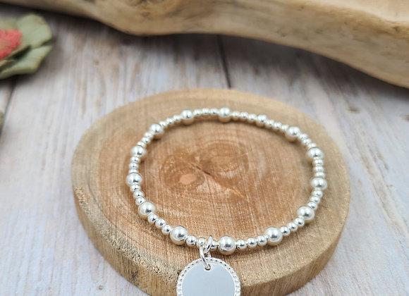 Bracelet argent - Perles 3 et 5mm - pendentif au choix