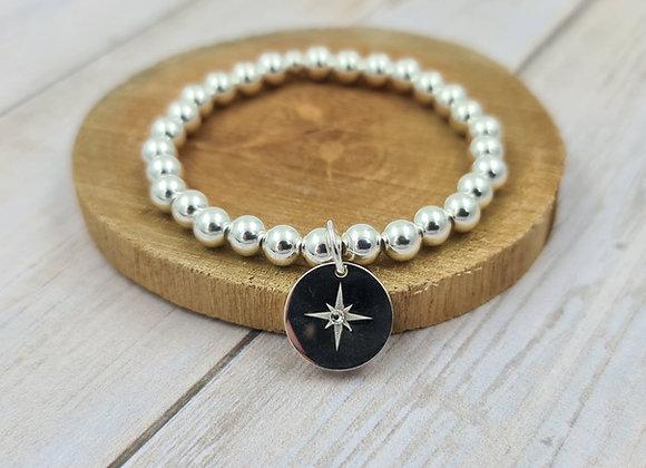 Bracelet argent 925 - perles 6mm pendentif étoile polaire