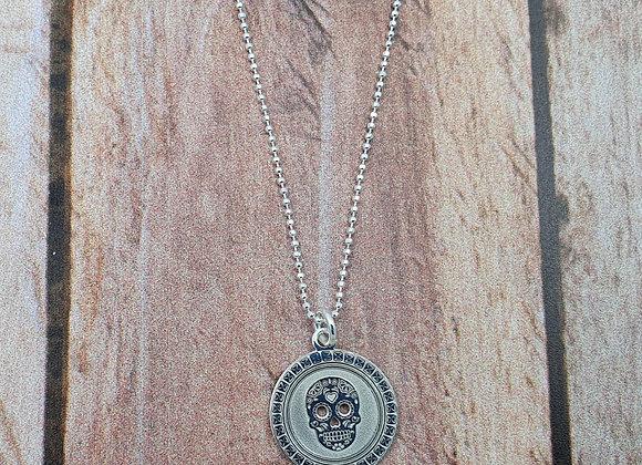collier court en argent 925 - pendentif tête de mort