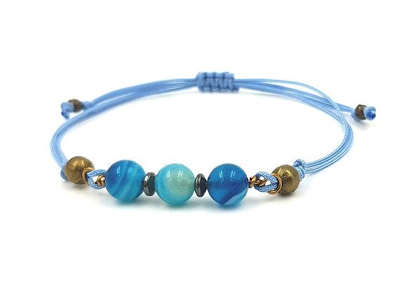 Bracelet cordon réglable et perles d'Agate