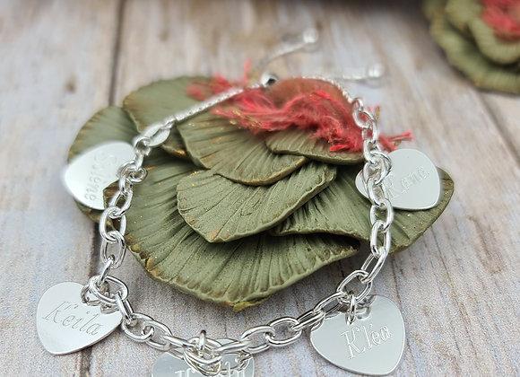 Bracelet maillons argent 925 - lien coulissant et pendentif coeur