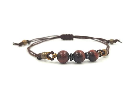 Bracelet cordon réglable et perles d'Oeil de Taureau