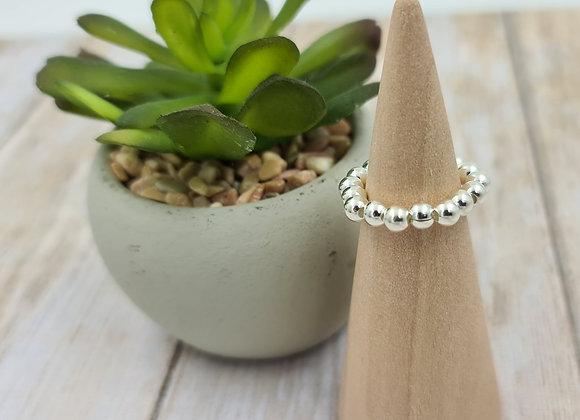 Bague rang simple perles en argent 925 4mm à personnaliser