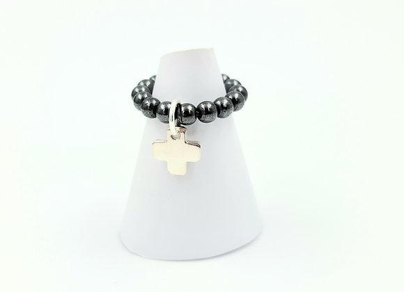 Bague hématite et argent 925  - pendentif croix