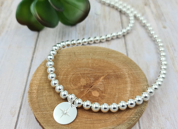 Collier court et perles 6mm argent 925 - pendentif au choix