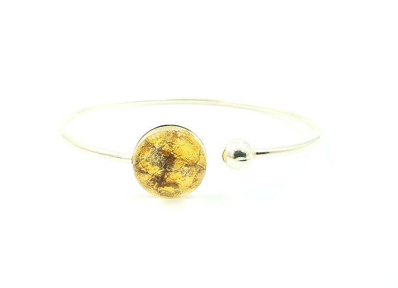 Bracelet jonc flexible argent 925 et cuir de saumon jaune