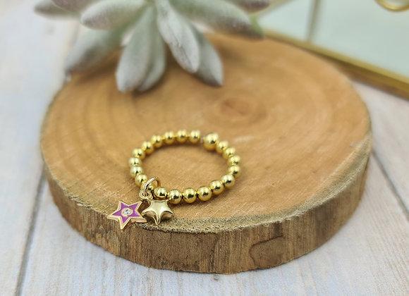 Bague gold filled 1 rang - pendentif étoile émaillée fushia