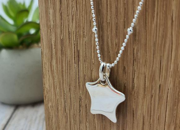 collier court en argent 925 - chaîne perlée pendentif étoile bombée