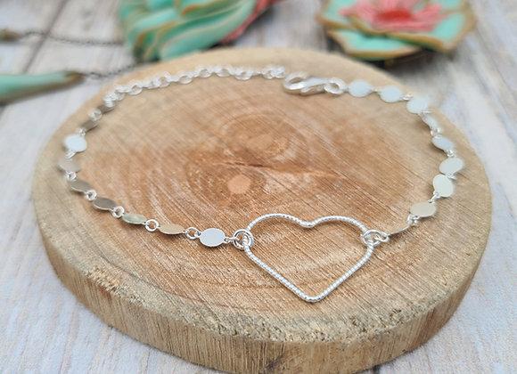 Bracelet argent 925 - chaîne minis médailles et intercalaire cœur