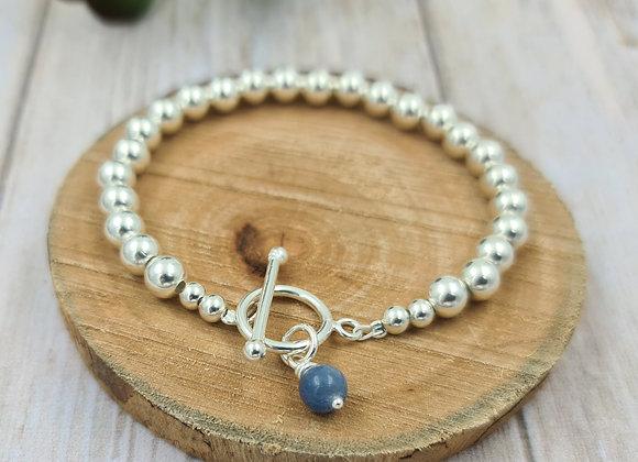 Bracelet argent 925 - perles 6mm - fermoir T et pierre fine