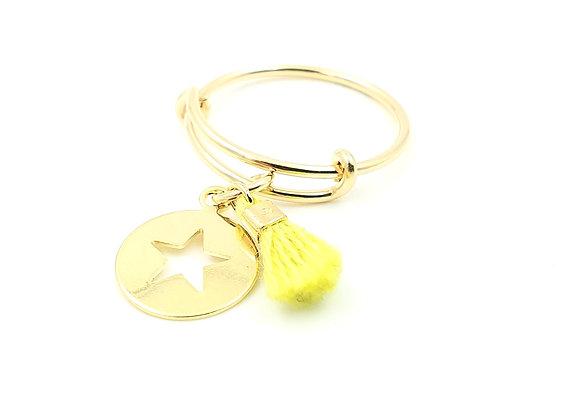 Bague jonc réglable - pendentif étoile et pompon vert anis