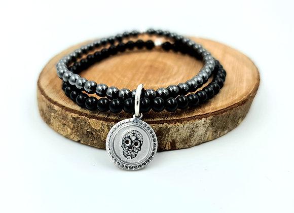 Bracelet double rang onyx et hématite - pendentif argent 925