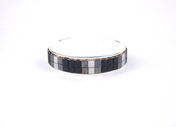 TYLA - bracelet manchette perles tissées Noir