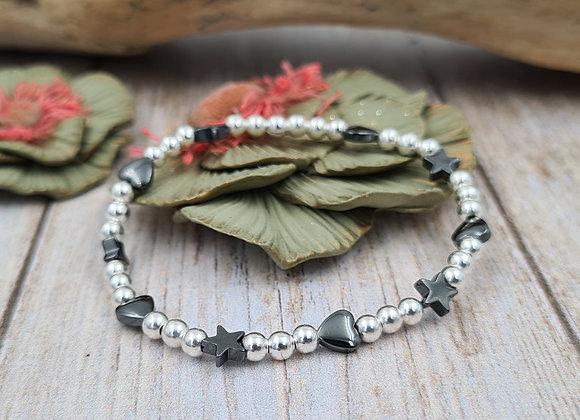 Bracelet argent - Perles 4mm - coeurs et étoiles hématite