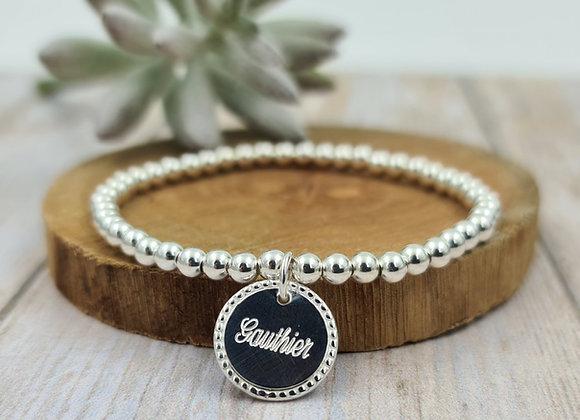 Bracelet argent 925 - perles 4mm - médaille décorée 15mm