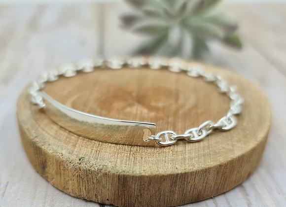 Bracelet Femme chaîne marine - intercalaire plaque/gourmette en argent