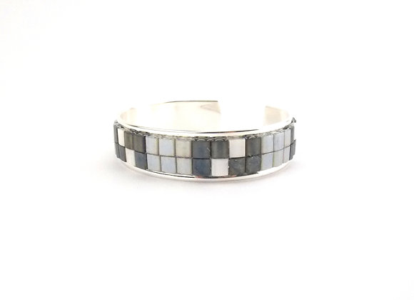 TYLA - bracelet manchette perles tissées grises