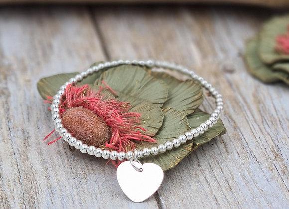 Bracelet argent 925 - perles 3mm -  coeur 15mm