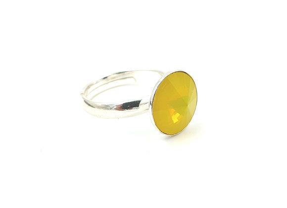 bague argent 925 réglable - Cabochon ©swarovski - Opale jaune