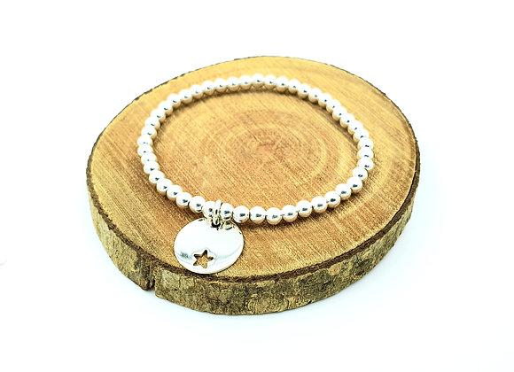 Bracelet argent - Perles 4mm - pendentif motif étoile décalée