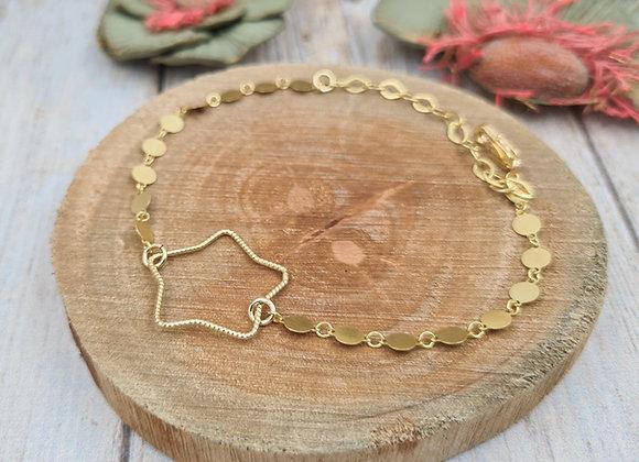 Bracelet gold filled - chaîne minis médailles et intercalaire étoile