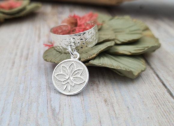 Bague  réglable argent 925 - pendentif fleur de lotus
