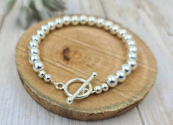 Bracelet argent 925 - perles 6mm - fermoir T