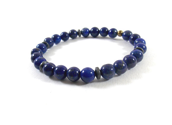 For men only ! Bracelet Lapis Lazuli et Hématites