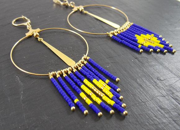 Khépri - Créoles bleu roi