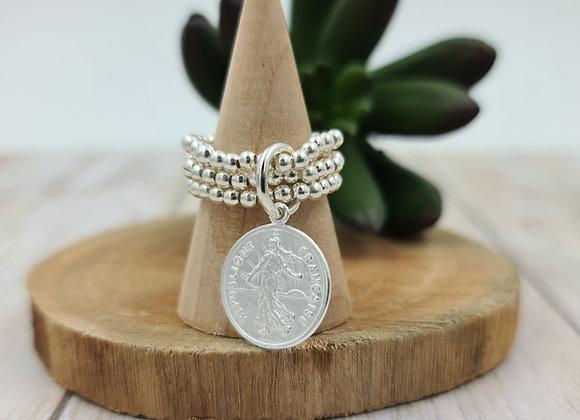 Bague argent 925 triple rang de perles 2,5mm- pendentif au choix