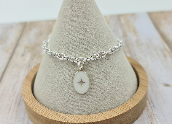 Bracelet mailles argent 925 lien coulissant - pendentif émaillé étoile polaire