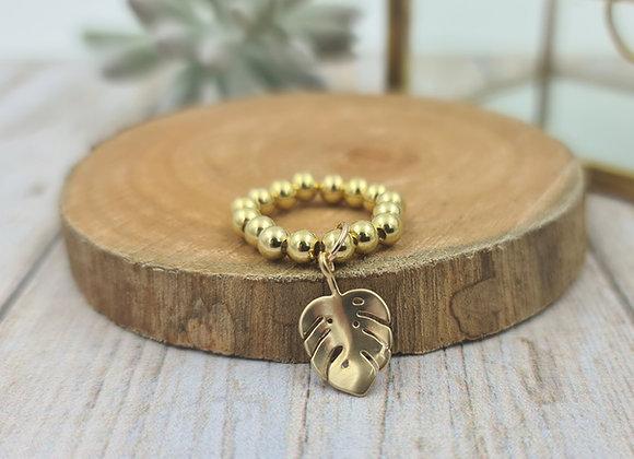 Bague gold filled 1 rang (4mm) - pendentif feuille monstera