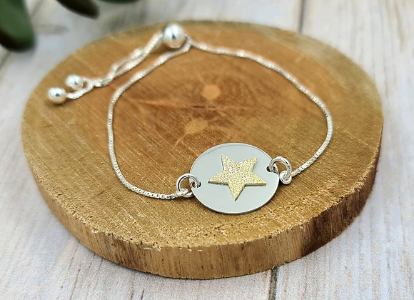 Bracelet chaîne fine argent 925 - cordon coulissant - intercalaire Etoile
