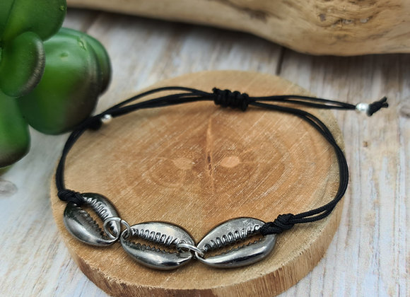 Bracelet cordon Homme  - intercalaires coquillages Cauri
