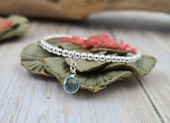 Bracelet argent - Perles 3mm - pendentif cristal swarovski
