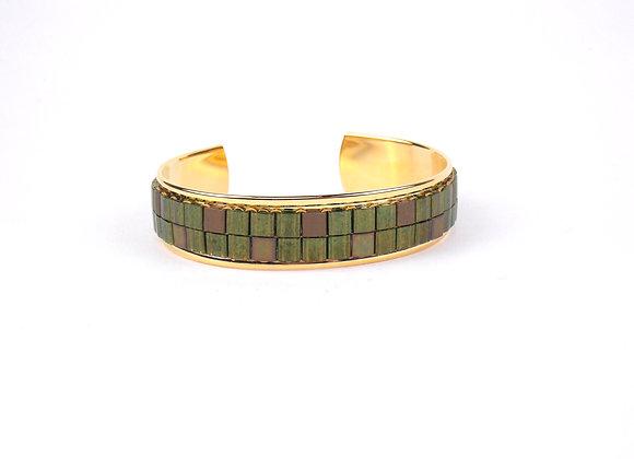 TYLA - bracelet manchette perles tissées Vert