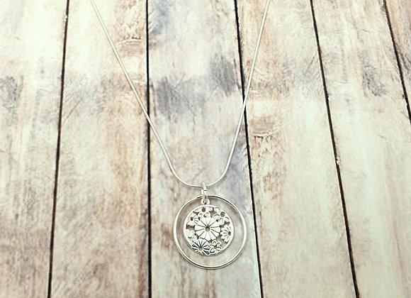 Collier argent 925 - pendentif fleurs