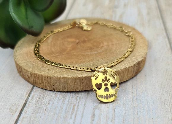 Bracelet gold filled et pendentif tête de mort