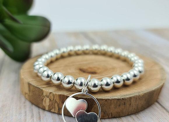 Bracelet argent - Perles 6mm - pendentif coeurs