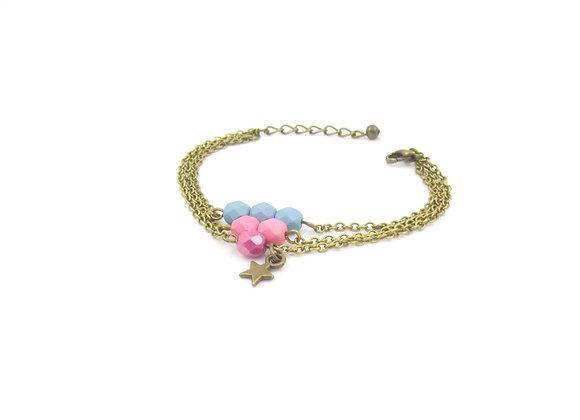 Estrella  - bracelet triple chaîne bleu et rose