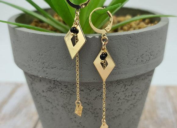 Les lumineuses ! Boucles  pendentif losange et perle d'onyx