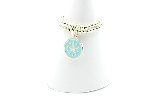 Bague argent 925 double rang et pendentif émail étoile de mer