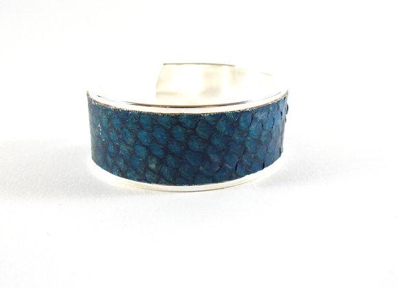 BAÏNES - Cuir de mulet bleu aux reflets bronze