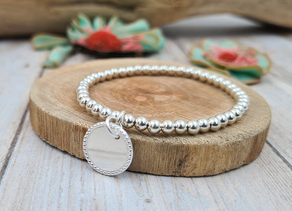 Bracelet argent - Perles 4mm - pendentif médaille décorée