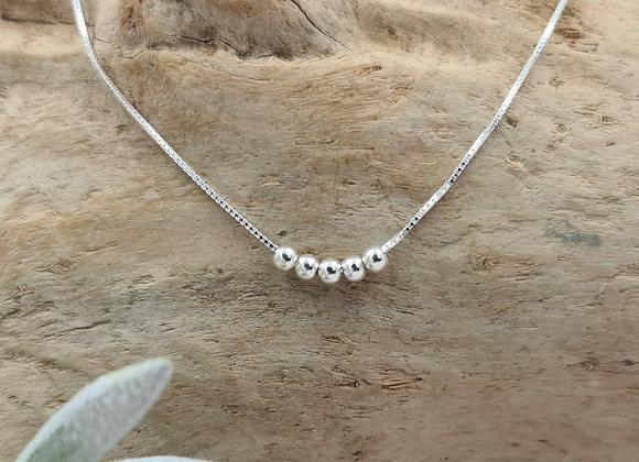 Collier court argent 925 - 5 perles